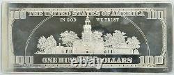 $100 Ben Franklin One Troy Pound Silver Bar. 999 Fine With Presentation Case