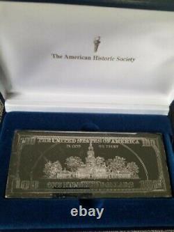 $100 Ben Franklin One Troy Pound Silver Bar. 999 in case Invest Rare Version