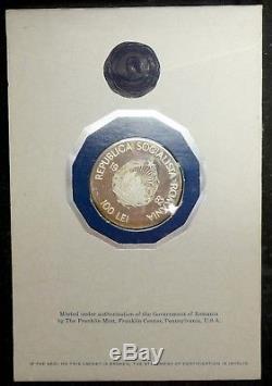 100 Lei 1982, Proof, Franklin Mint Original Folder, Romania