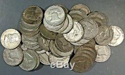 $10 FACE VALUE of FRANKLIN HALF DOLLARS 90% SILVER (LOT OF 20 COINS)