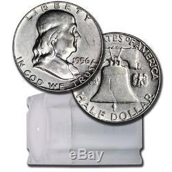 $10 Face Roll 20 coins 90% U. S. Silver Franklin Half Dollars Avg Circulated