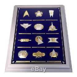 12 FRANKLIN MINT STAR TREK INSIGNIAS 1st SERIES STERLING SILVER with DISPLAY CASE