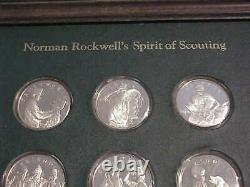 12 STERLING SILVER FRANKLIN MINT NORMAN ROCKWELL SPIRIT OF SCOUTING COINS 10 oz