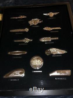 12 Silver & Gold Harley Davidson Tank Insignia Badges Set