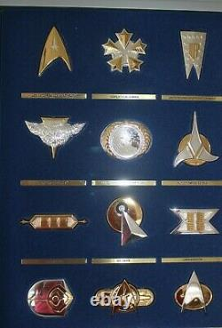 12 Sterling Silver & 24K Gold STAR TREK INSIGNIA SET Franklin Mint'92 withCASE