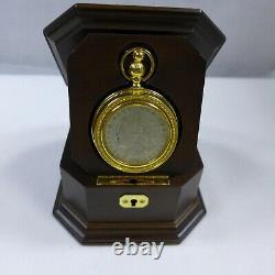 1921 Morgan Silver Dollar Pocket Watch Franklin Mint Original In Display Box
