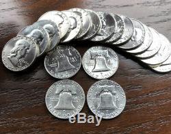 1948-1963 Silver Franklin Half Dollar Bu-au Brilliant Full Roll 20 Coins