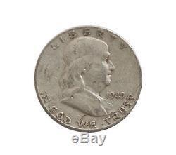 1949-S Franklin Half Dollars $10 FV Roll of 20 Average Circ