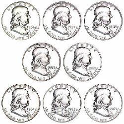 1956-1963 90% SILVER Franklin Proof Half Dollar 50C 8 Coins