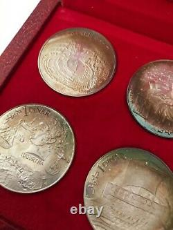 1969 Tunisia Tunisienne Franklin Mint 10 Coin Proof Silver Set COA Original Box