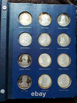 1970 Franklin Mint Treasury Of Presidential Commemorative Silver Medals