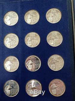 1970 Franklin Mint Treasury of Presidential Silver Set of 36 Medals M1410