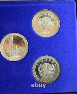 1970 Franklin Mint UNITED NATIONS 25th Commemorative Medal Set STERLING SILVER
