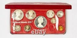 1970 The Franklin Mint Bahamas Islands Proof Set withBox & COA 9 Coins