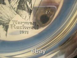 1971 Franklin Mint Norman Rockwell Christmas Plate Sterling Under the Mistletoe