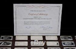 1973 Franklin Mint Proof Set of Bankmarked Sterling Silver Ingots
