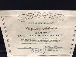 1974 Franklin Mint Proof Set Bankmarked Sterling Silver Ingots