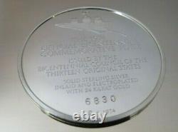 1974 Franklin Mint Sterling Silver & 24K Gold Bicentennial Plate JOHN ADAMS