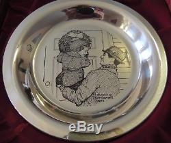 1974 Franklin Mint Sterling Silver Norman Rockwell Christmas Plate Wreath
