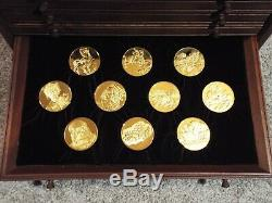 1974 Genius of Leonardo da Vinci Sterling Silver & 24K Gold Medal Set