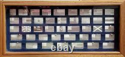 1974 Great Flags Of America 42 Sterling Silver Mini Ingot Flags With Display Case