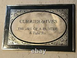 1975 Franklin Mint Currier & Ives The Life of a Hunter 2.8 oz Silver Art Bar