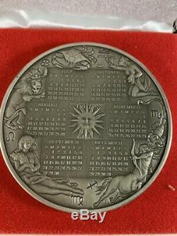 1975 Franklin Mint STERLING SILVER Art Calendar/Art Medal 9.375 TROY OUNCE