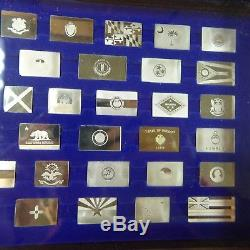1975 Franklin Mint THE OFFICIAL FLAGS of the STATES Sterling Silver Bars 7.1 toz