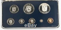 1975 Republic of Panama Proof Set (8 pc) Franklin Mint (1-50c 1-5 Balboa) with Box