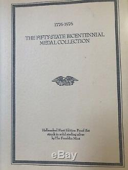 1976 Franklin Mint 50 State Bicentennial Sterling Silver Medal Collection
