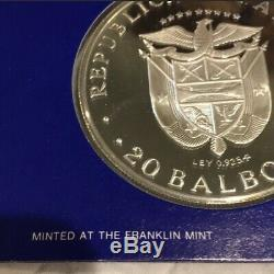 1976 Panama 20 Balboa Simon Bolivar 2 Piece Silver Proof Coin Set With Box & COA