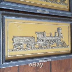 1977 Franklin Mint Sterling Silver Silhouette Set Framed Train Locomotive Engine