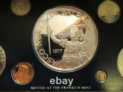 1977 Panama 9 coins Proof Set 3 silver, Franklin Mint pkg NO coa