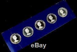 1978 Coronation Jubilee Crown Silver Proof 5 Coin Set Box&COA Franklin Mint E96