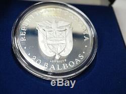 1979 PANAMA 20 BALBOAS SILVER COIN Box & COA Sterling Proof Franklin Mint