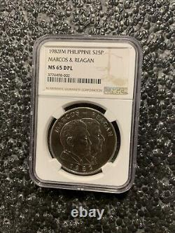 1982 Philippine Marcos & Reagan Franklin Mint 25 Piso Silver Coin NGC MS 65 DPL
