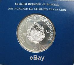 1982 Romania Silver Proof 100 LEI (Franklin Mint Box+COA)