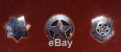 1987 Franklin Mint Great Western 12 Lawmen Sterling Silver Badge Set