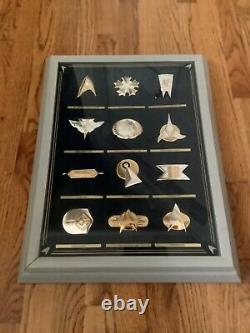 1993 Franklin Mint Star Trek 12 Insignia Badge Collection. 925 Sterling Silver