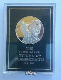 1997 Franklin Mint Tiger Woods Golf Commemorative Sterling Silver Medal Rare
