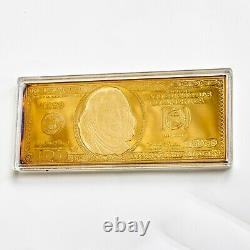 1999 $100 Franklin Golden Proof Bar in Box with COA 4 TROY OZ. 999 Fine Silver