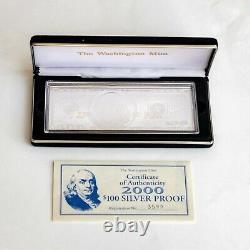 2000 $100 Ben Franklin Proof Bar in Box with COA 4 TROY OZ. 999 Fine Silver