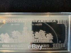 2000 BENJAMIN FRANKLIN $100 DOLLAR BILL 4 OUNCES / 123 Gram. 999 FINE SILVER BAR