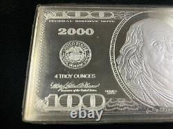2000 Benjamin Franklin. 999 4 troy ounce silver 100 dollar bill