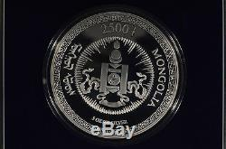 2000 Mongolia 2500 Togrog 5 oz. 999 Fine Silver Gilded Coin Franklin Mint