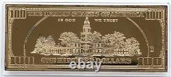 2000 USA 100$ Franklin Golden Proof 4oz silver. 999 gilded Washington Mint COA