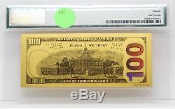 2009 $100 Franklin 1 Gram 999 Gold Federal Reserve Note PMG 70 Gem UNC JB530