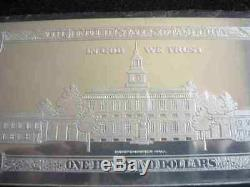 2019 DATED PROOF 4oz CURRENCY UNC SILVER BAR FRANKLIN $100 HUGE 2.5 x 6.999