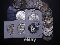 20 Silver Halves 90% GREAT MIX Barber Walking Franklin Kennedy & $10 Face Coin