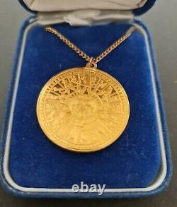 24k GOLD & SILVER PENDANT OF THE AZTEC SUN MEXICO FRANKIN MINT